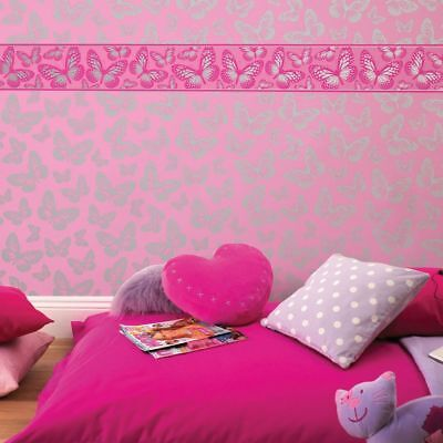 Butterfly 7 Inch Wallpaper Border 5M Kids Girls Bedroom Pink Silver New