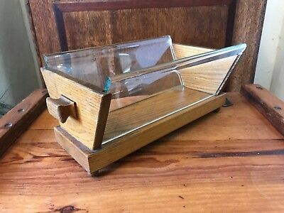 Rare Unusual Antique Woodenware And Thick Glass Oak Planter Trough Milling Item