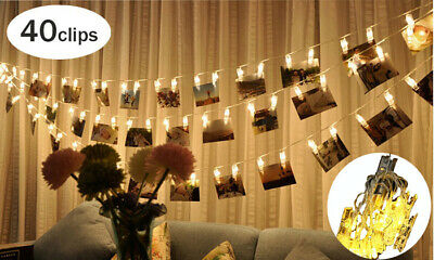 5M 40 LED Photo Clips Fairy String Light Wedding Hanging Picture Room Party Deco