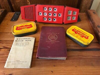 Small Antique Vintage Job Lot Carboot Trader Merlin Palltoy  Erinmore Tin