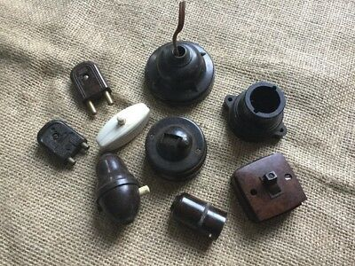 Vintage Bakelite Switches And Light Fittings