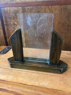 Vintage Antique Art Deco Oak Picture Frame Single Piece Of Bevelled Glass
