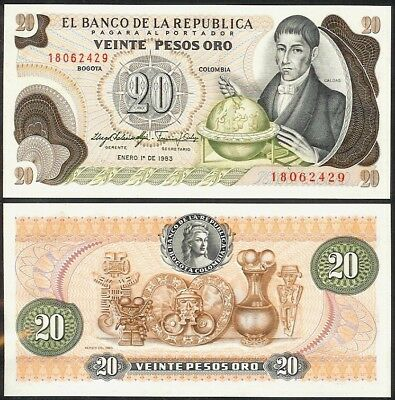 COLOMBIA 20 PESOS ORO 1983 P409d UNCIRCULATED