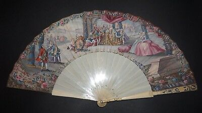 Antique 18Th French Hand Painted Royal Interest Charles Iii Of Spain Scene Fan