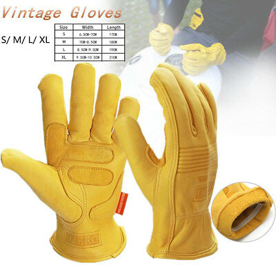 Pair Vintage Yellow Motorcycle Motorbike Racing Gloves S M L XL For Harley BMW