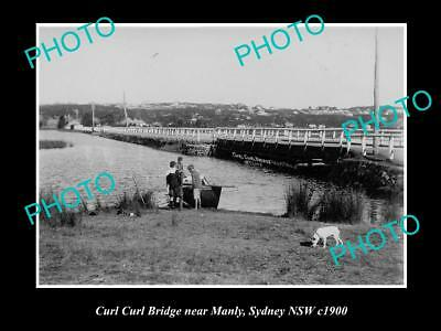 OLD LARGE HISTORICAL PHOTO OF THE CURL CURL BRIDGE, MANLY, SYDNEY NSW c1900