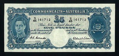 1952 Coombs & Wilson  5 Pound Commonwealth Of Australia Banknote Unc.