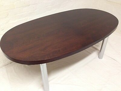 Rare Stunning Pieff French Rosewood & Chrome Column Mid Century DINING TABLE