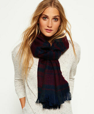 New Womens Superdry Capital Scarf Dark Navy