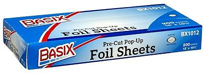 Basix Pre Cut Pop Up Aluminum Silver Foil Sheets 200 Count