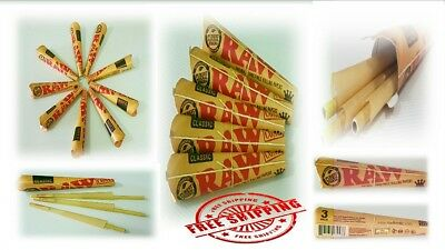 Raw Cones King Size 3pcs Pre Rolled Natural Classic Paper with Filter Authentic