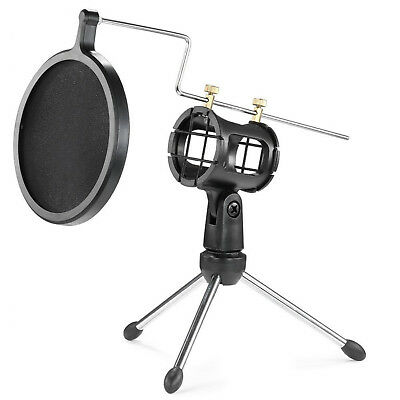 Lightweight And Durable Black Microphone Pop Filter With Double-Net Shield