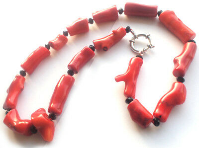Stunning 99g Heavy Natural Red Coral Necklace Authentic Chinese Silver Piece