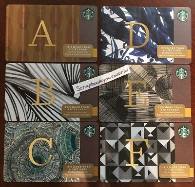 Starbucks USA 6 Gift Card Your choice of one:  Letters A B C D E F - 2014