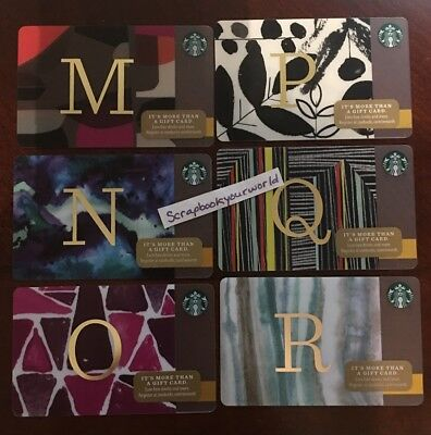 Starbucks USA Gift Card Your choice of one: Letters M N O P Q R - 2014