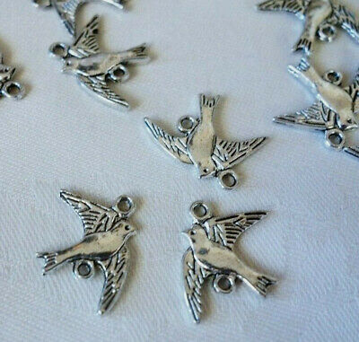 20 Antique Silver Coloured Bird Connectors 21mmx17mm #3828 Jewellery Making