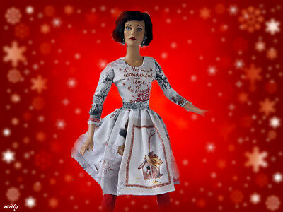 """Retro Holiday Dress  !!!heavy Cotton ..&    Red """"boots"""" Ooak For """"16 Dolls"""