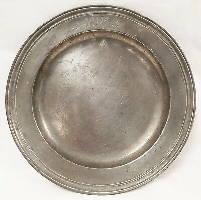 Early Antique Pewter Plate Signed 1706 Hallmarked on Back