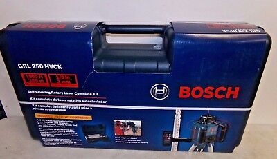 NEW Bosch GRL 250 HVCK Self leveling Rotary Laser Complete Kit FREE SHIPPING!
