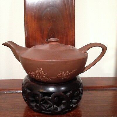 Clearance sale!-Chinese YiXing Pottery Teapot-Calligraphy & Plum Flower- Marked