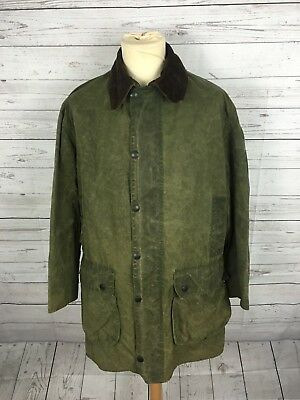 "Mens Barbour 'Border' Wax Jacket - Medium 40"" 102cm - Green - Great Condition"
