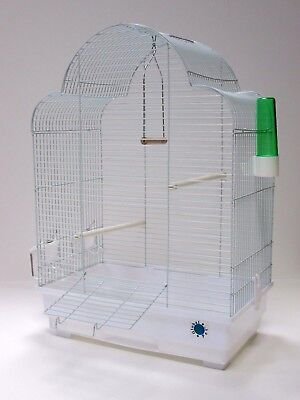 Elsa White Large Metal Plastic Bird Cage For Budgie Canary Perches Feeders Tray