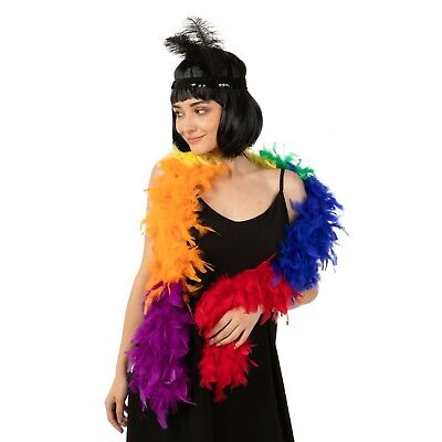 Feather Boa Thick Luxury High Quality Rainbow 80G Gatsby Gay Pride Flapper Uk