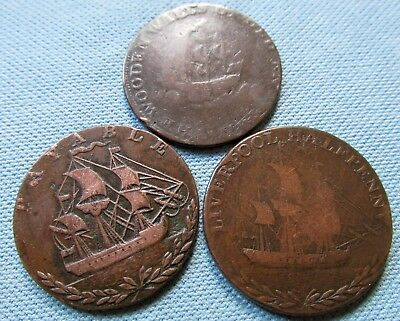 Lot 3 1790s British Halfpenny Tokens Conder Coppers Ships-Liverpool Portsea Howe