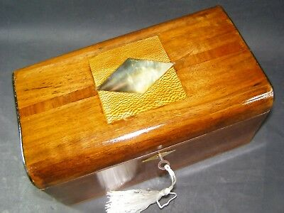Domed Antique Mahogany Box Working Lock & Key 1880 Mother Of Pearl Center