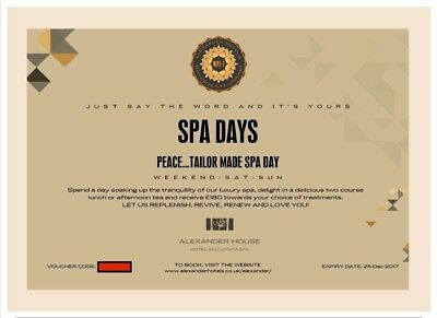 Alexander Hotels Peace... Tailor made Spa Day voucher worth £260