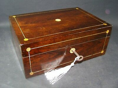 Antique Rosewood Box Working Lock & Key 1870 Mother Of Pearl Center & Roundels