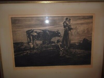 John Costigan -- signed limited edition AAA etching NA rare old cows children