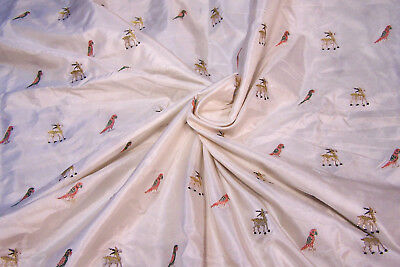 """Antique Chinese Silk Fabric with Embroidered Parrots, Gazells, 35"""" width x 96"""""""