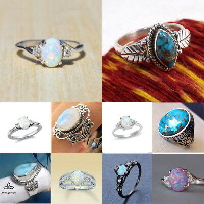 Natural 925 Silver Ring Fire Opal Moonstone Wedding Proposal Party  Size 5-11