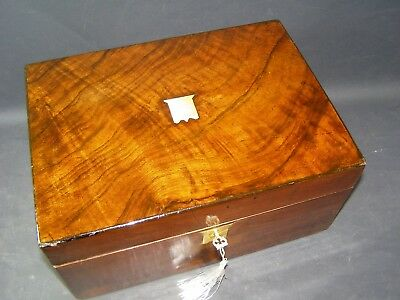 Lg Antique Document Box Working Lock & Key 1870  Walnut Brass Center & Key Plate