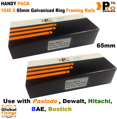 65mm x 1040 Galvanised Ring Framing Nails Handy Pack for DEWALT First Fix