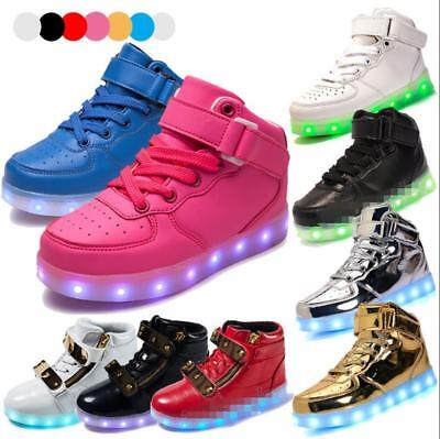 New Kids USB 7 Color LED Light Up Luminous Shoes Boys Girls Casual Sneakers A