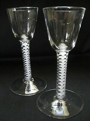 A Rare Pair Of Georgian Wine Glasses On Opalescent Opaque Twist Stem-1760