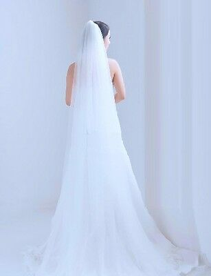 3m Long 1 Tier White Cathedral Tulle Organza Wedding Bridal Soft Veil With Comb