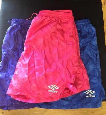 Lot of 3 Girls/Boys Umbro Soccer Shorts Size  Large Pink Purple And Blue
