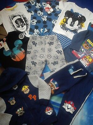 NEW RIVER ISLAND 9x PAW PATROL BATMAN MICKEY BUNDLE BABY BOY CLOTHES 12/18 MTHS