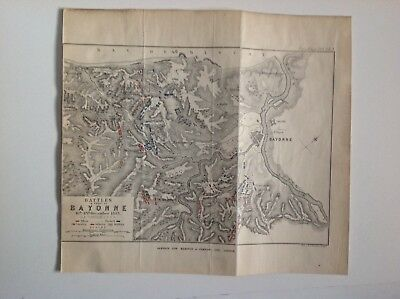 Battles In The Front Of Bayonne, France,  1900 Antique Linen Map, Original,