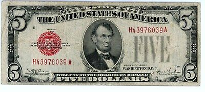 $5 DOLLAR 1928E RED SEAL OLD United States Legal Tender Note US Bill Paper Money