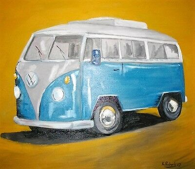 "Original Oil Painting on canvas of VW 24""x20"" from artist Kevin Richards"
