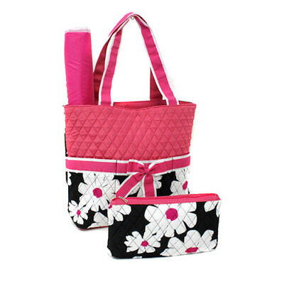 Pink Daisy  Print Quilted Diaper Bag with Trim Quilted Diaper-NEW WITH TAGS