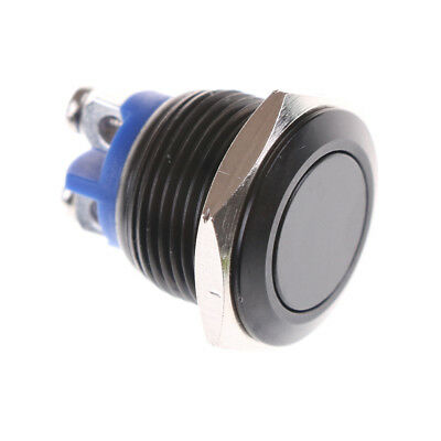 1PC 16mm Stainless Steel Black Waterproof Starter Switch Momentary Button -M