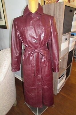 70's Vintage Sz12 Oxblood Burgundy ETIENNE AIGNER Leather Trench Coat Wool Lined