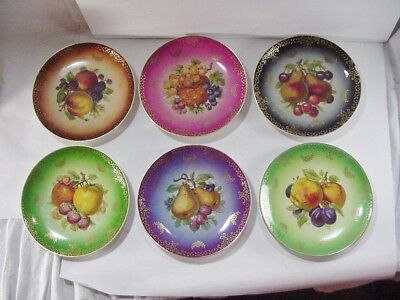 Six Mitterteich Germany Bavaria Porcelain Fruit Plates w Fancy Swirl Gold Trim