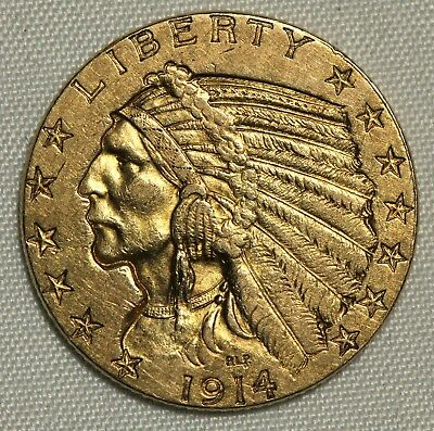 About Uncirculated 1914 $5 Gold Indian Half Eagle Au
