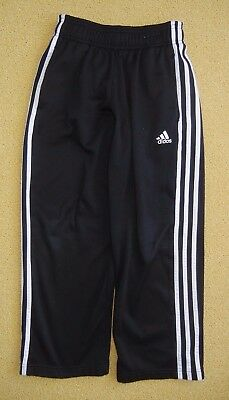ADIDAS Black/White Soccer TRACK PANTS Athletic Sweat Gym Size Kids YOUTH 8 Small